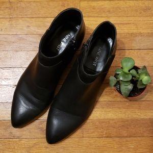 Nine West Oziaso Black Leather & Suede Booties